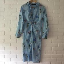 ZARA SKY BLUE STRIPE AND FLORAL PRINTED TUNIC SHIRT DRESS WITH KNOT SIZE XS