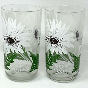 Vintage 50s Big Top Peanut Butter White Shasta Daisy Drinking Glasses Set Of 2