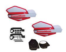 PowerMadd STAR Series Handguard Guards Mirror Mount Kit Red White Suzuki ATV