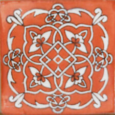 #C105) Mexican Tile sample Ceramic Handmade 4x4 inch, GET MANY AS YOU NEED !!