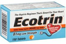 2 Pack Ecotrin 81mg Safety Coated Enteric Aspirin Low Strength 150 Tablets Each