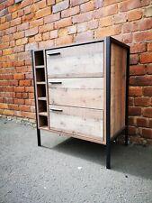Industrial Chic Wine Rack Cabinet / Vintage Drinks Cabinet Bottle Storage Holder