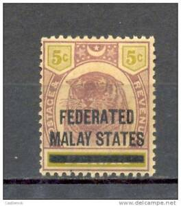 o) 1900 FEDERATED MALAY STATES, OVERPRINTED ON PERAK -TIGER 5C LILAC AND OLIVE S