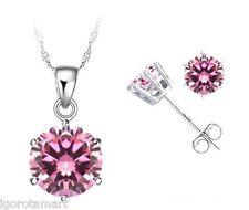 Stud Rose Pink CZ Rhinestone Pendant Silver Earrings Necklace Lady Jewelry Set
