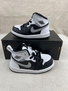 Nike Air Jordan 1 Mid Size 6c White Shadow Black Gray TD Toddler 640735 073