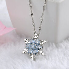 Silver Plated Elegant Ladies Girls Snowflake Crystal Pendant Necklace Jewelry