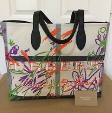 07e419c0e516 BURBERRY REVERSIBLE CANVAS CHECK COATED DOODLE EXPLODED FLORAL TOTE BAG NWT