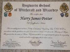 Harry Potter Hogwarts Zertifikat Diplom & Report Karte Personalisiertes Geschenk