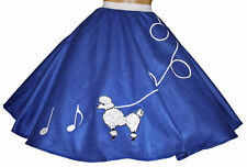 "Blue FELT 50s Poodle Skirt with Notes _ Adult Size SMALL _ Waist 25""- 32"""