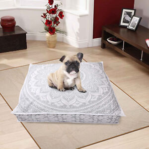 """35"""" White Silver Extra Large Floor Cushion Pillow Cover Square Pet Dog Bed Cover"""