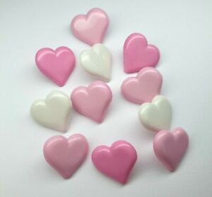 Heart Shaped Buttons set of 10 15mm ligne size 24 White Pink baby cardigans