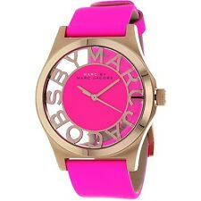 MARC JACOBS WOMENS HENRY SKELETON WATCH MBM1243 PINK DIAL LEATHER STRAP RRP £200