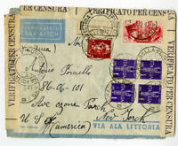 Italy Cover Censored 1941 Flown to NY Multiple Cancels Scarce