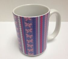 Tree-Free Greetings Dotted Butterfly Stripes 15 oz Ceramic Mug w Full-Size Handl