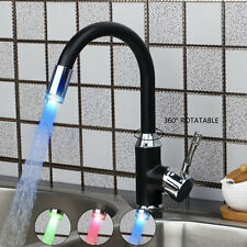 LED Black Painting Swivel Spray  Kitchen Basin Sink Faucet Mixer Tap Deck Mount