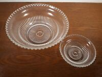 Antique Pressed Glass Clear Ribbed Master Bowl w/ Berry Bowl Scalloped Rim