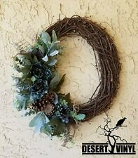 Pinecone and peony grapevine wreath.front door wreath. green wreath for door