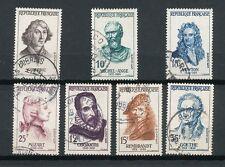 France 1957 Série complète Célébrités YT 1132 à 1138 timbres oblitérés