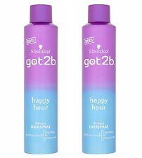 2x Schwarzkopf Got2b Happy Hour 24hr Hairspray Extreme Hold 300ml