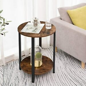 HOOBRO Round Side Table End Table Bedside Table 2-Layer Sofa Table Living Room