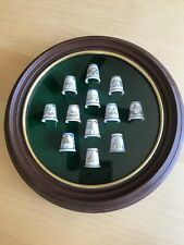 Thimbles Spode Twelve Days Of Christmas Set  22Kt Gold Bone China Wood Wreath