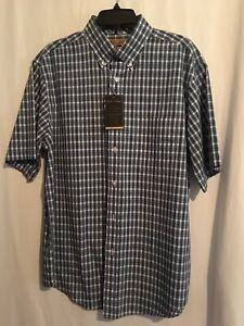 Roundtree Yorke Gold Label Men SS Shirt Cotton Sz L Turquoise White Plaid NWT