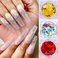 Nail Art 3D Decorations Holographic Sparkling Colorful Fire Pattern Manicure