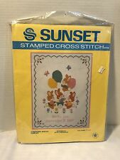 Sunset NIP Somebunny Special Stamped Cross Stitch 8104 Sampler 11x14