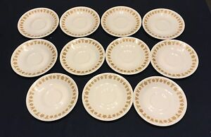 LOT OF 11 CORELLE BY CORNING GOLD BUTTERFLY SAUCERS
