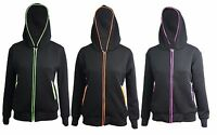 Womens Ladies Jacket Coat Quilted Zip Top Zipper Sweatshirt Hooded Hoodies 8-14