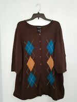 NWT Maggie Barnes Plus Women's Sweater Cardigan 3/4 Sleeve Button Front. Size 1X