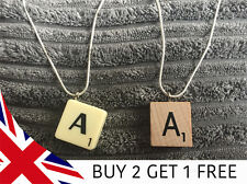 "Scrabble Tile Necklace - 22"" chain - Wood or classic - All Letters - Made in UK"