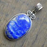 Oval Cab Blue Lapis Lazuli Gemstone 925 Sterling Silver Handmade Gift Pendant