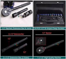 "24 Piece 1/2"" Dr. Impact Drive Wrench Socket Set Ratchet, Extension Bar & Joints"