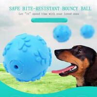 Pet Dog Aggressive Chew Toys Indestructible Rubber Sound Squeaker Ball L1D7