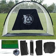 Portable 10' Golf Practice Set Golf Hitting Net Cage w Target Bag Ball Grass Mat