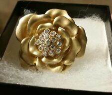 New Gold Metallic Flower Rose Ring with Rhinestone Crystals》Stretch Band