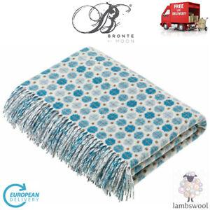 Bronte Milan Skye Aqua Blue Soft Pure Merino Lambswool Blanket Wool Throw Moons