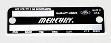 1967-1969 Mercury Cougar Data Plate Door Info Punched with your Info & Rivets