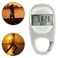 AU_ Portable Carabiner Walking Distance Fitness Calorie Step Counting Pedometer
