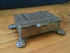 """VINTAGE BRONZE TREASURE CHEST RING BOX 2 1/2""""x1 3/4""""x3/4"""" EXCL. FOOT EXTENSION"""