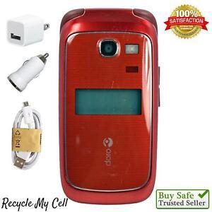 Doro PhoneEasy 618 Red (Consumer Cellular) Cell Phone - Senior Friendly