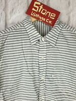 Levis White Black Wide Horizontal Stripe Cotton Summer Shirt S/S Medium £90 New