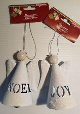 2 Angel Bell Ornaments JOY and NOEL, White Glitter.  Christmas