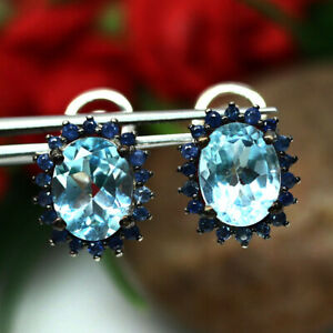 NATURAL SKY BLUE TOPAZ & SAPPHIRE TWO TONE EARRINGS 925 SILVER STERLING