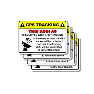 Audi A6 Security Yellow Warning GPS Tracking Decal Stickers 4 PACK