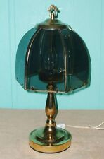 Table Lamp Brass finish electric glass shade home office decor on/off switch