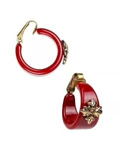 patricia nash womens resin hoop earring red enamel clip on back new with tag