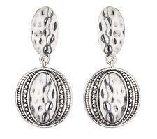 Orecchini a Clip-placcato argento anticato Aztec Design Dangle Orecchino-brasen S