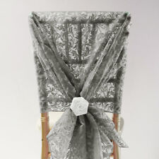 FLOCK ORGANZA CHAIR COVER HOOD 4 COLOURS WEDDING DECOR EVENTS
